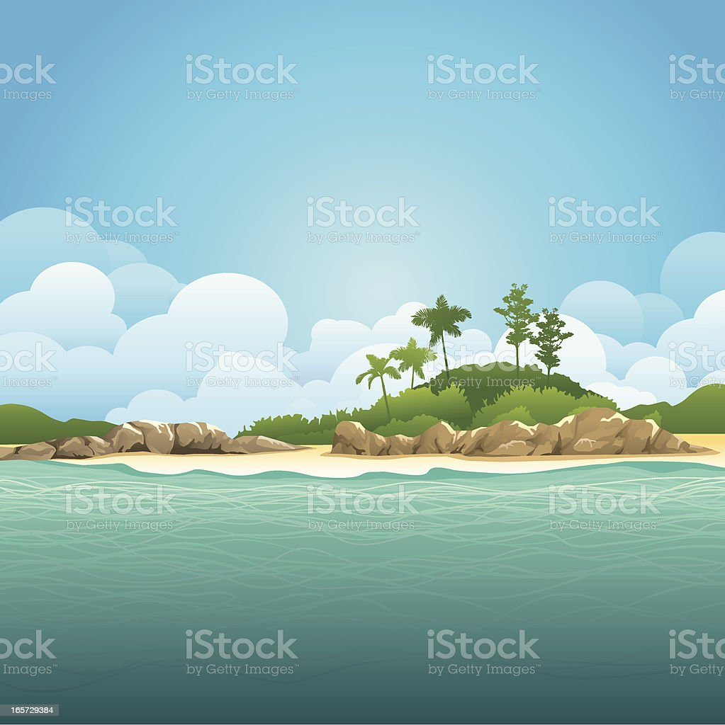 Illustration of an island and ocean with green waters vector art illustration
