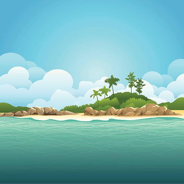 bildbanksillustrationer, clip art samt tecknat material och ikoner med illustration of an island and ocean with green waters - ö