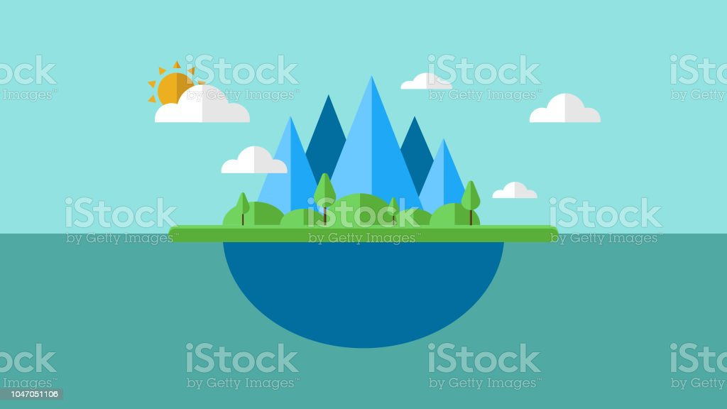 Illustration of an island with cloud and sun. Vector of an island. EPS10 compatible vector art illustration