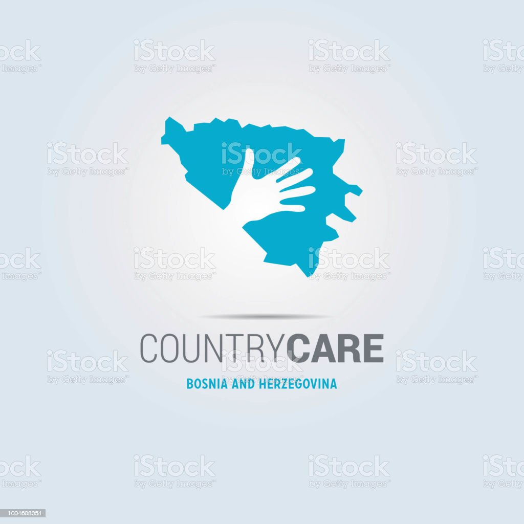 Illustration of an isolated hands offering sign with the map of Bosnia and Herzegovina vector art illustration