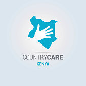 Illustration of an isolated hands offering sign with the map of Kenya