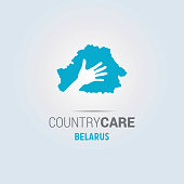 Illustration of an isolated hands offering sign with the map of Belarus