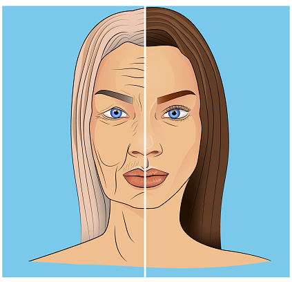 Illustration of an old and young woman face on blue background with white line