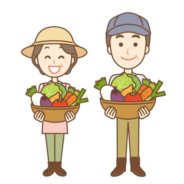 illustration eines alten ehepaares, das gemüse hält - karotte peace stock-grafiken, -clipart, -cartoons und -symbole