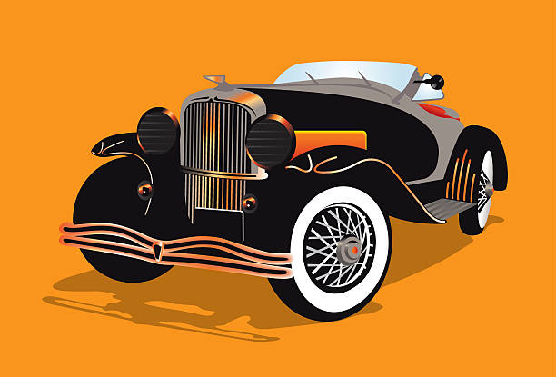 Illustration of an old hot rod car vector art illustration