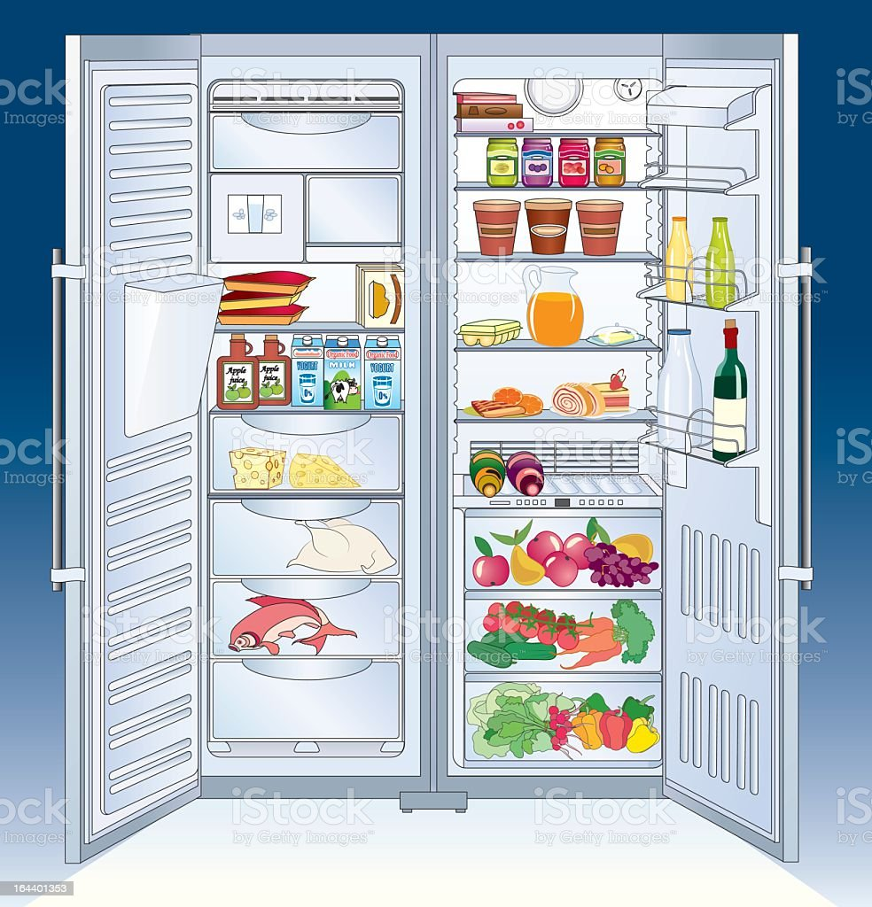 open refrigerator. illustration of an open refrigerator with food inside royalty-free stock vector art