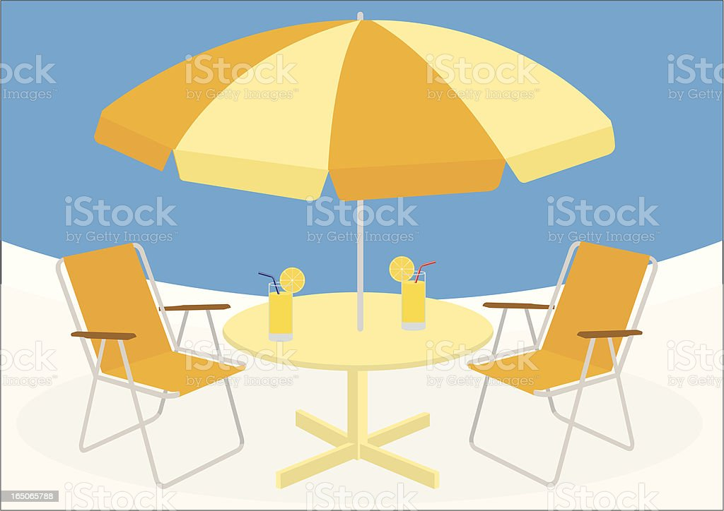 Illustration of an orange and yellow table and chairs vector art illustration