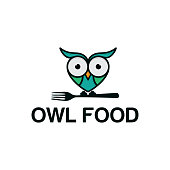Illustration of an owl on a fork with flat cartoon style. colorful silhouette. Baby collection. white background