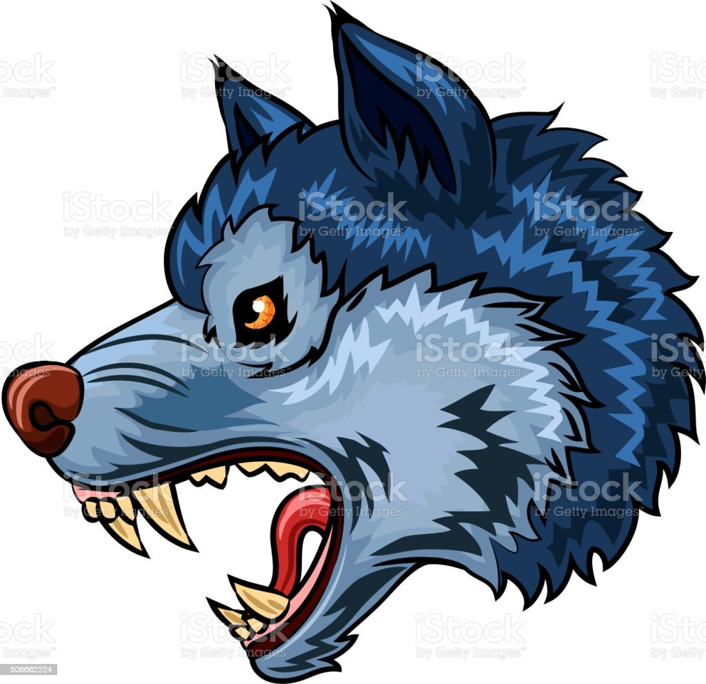 Illustration of Angry wolf character isolated on white background vector art illustration