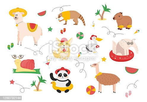 Illustration of animals on a summer vacation. A snail with glasses on the rug, a llama in a hat, a panda in a hat with a rubber ring, a guanaco with a ball, an anteater with a swimming circle