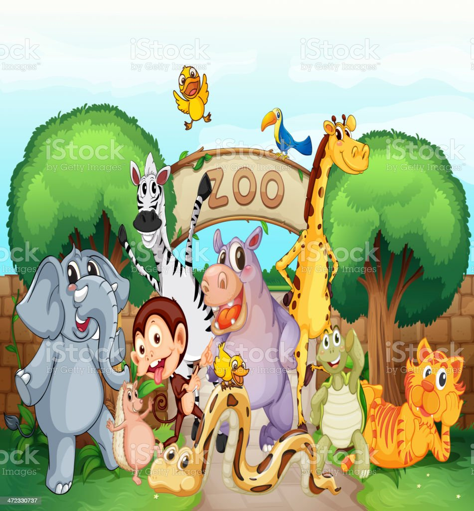 Illustration of animals smiling at the zoo royalty-free stock vector art