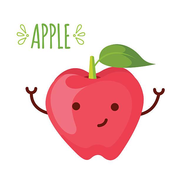 illustration of apple cartoon character – Vektorgrafik