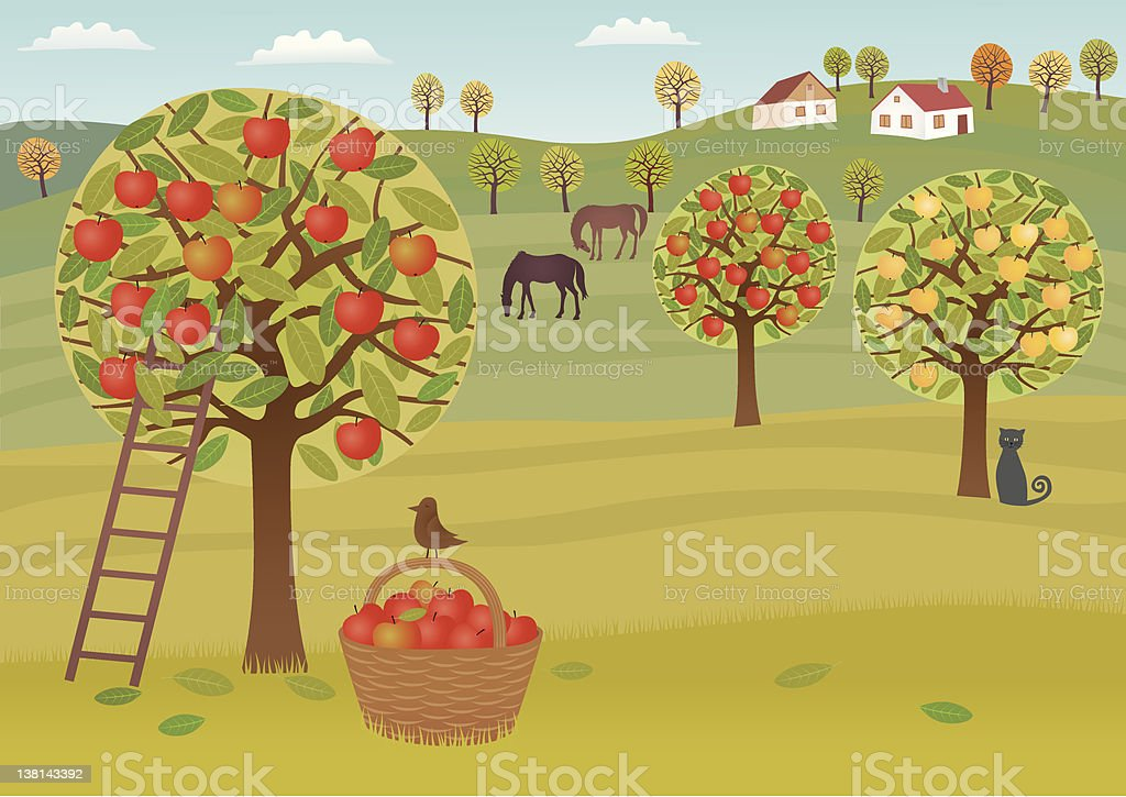 Illustration of apple trees and horses on a country farm vector art illustration