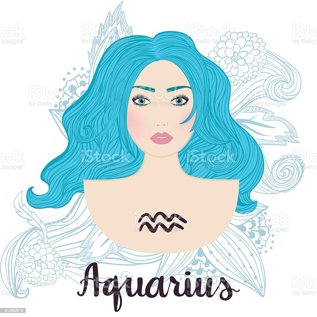 Illustration of aquarius zodiac sign as a young beautiful girl. vector art illustration