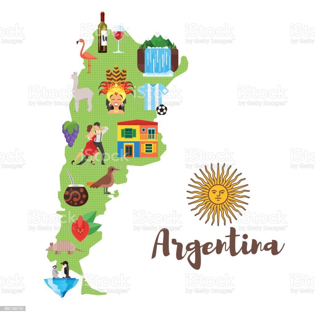 illustration of Argentina map with Argentinian national cultural symbols. vector art illustration