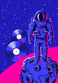 Illustration of astronaut on moon. Rock and roll or disco music print. Rock festival poster.
