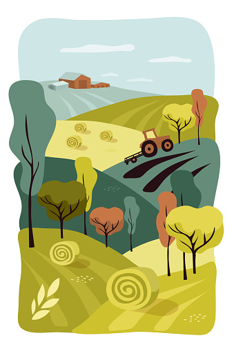 Illustration of autumn nature and agricultural landscapes