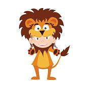 illustration of baby in a lion fancy dress costume vector
