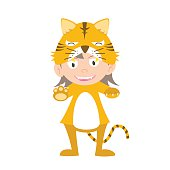 illustration of baby in a tiger fancy dress costume vector