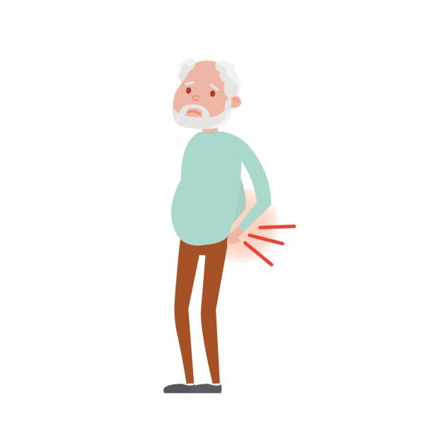 illustration of backache in senior man. - old man on a back pain silhouette stock illustrations, clip art, cartoons, & icons