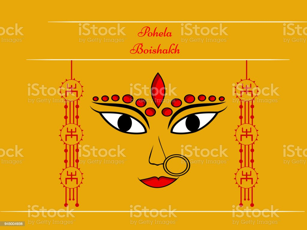 Illustration Of Background For Indian Festival State West Bengal, Bengali New  Year Royalty Free