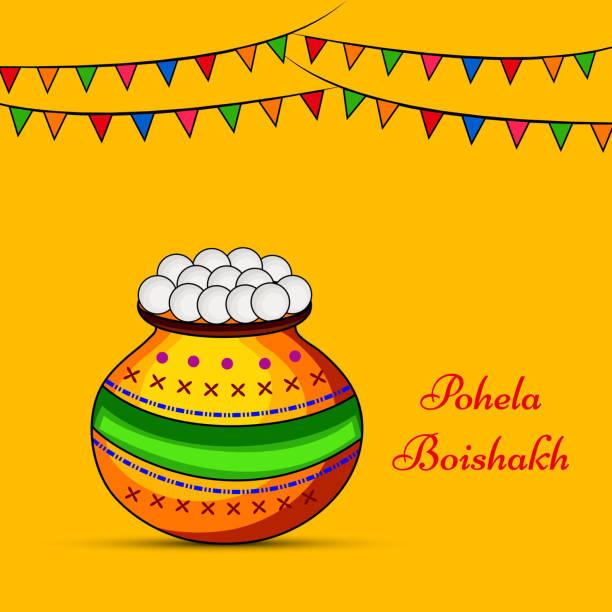 Royalty free pohela boishakh clip art vector images illustrations illustration of background for indian festival state west bengal bengali new year vector art illustration m4hsunfo