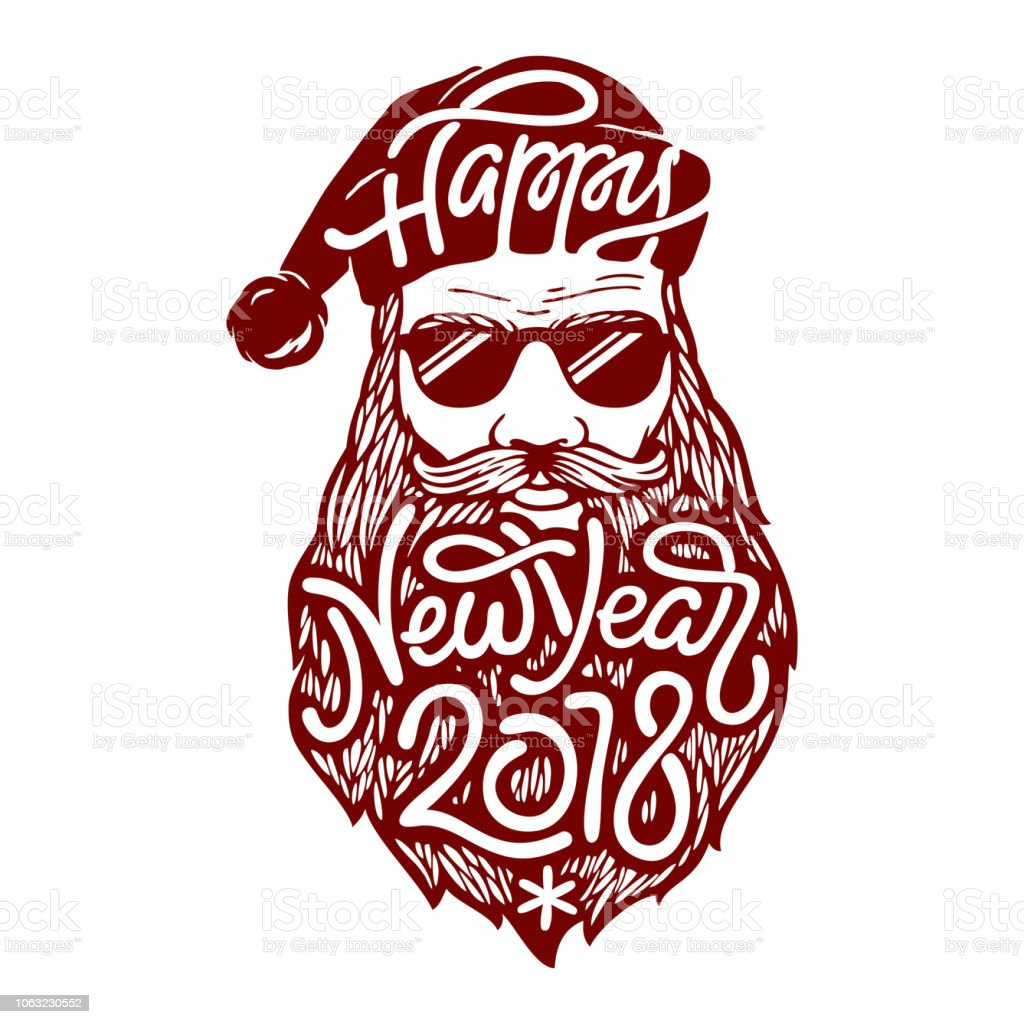 illustration of bad santa claus in glasses with lettering happy new year 2018 on his beard