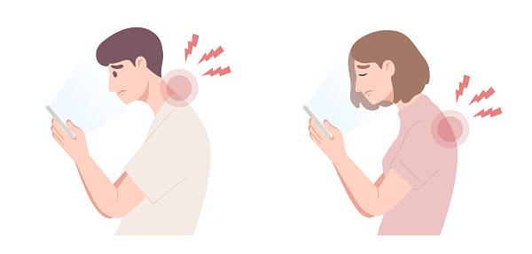 Illustration of bad smartphone using postures cause of neck and shoulder pain. Spine damage.