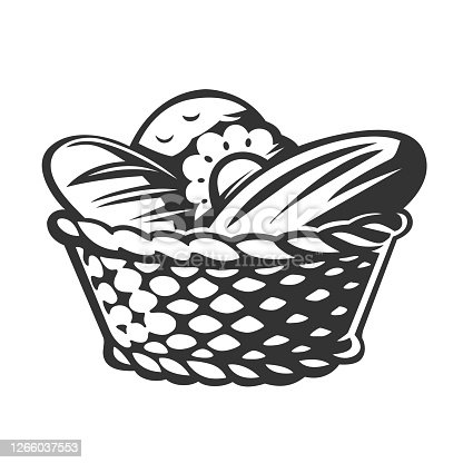 Bakery Basket. Vector illustration. Black and white vector objects.