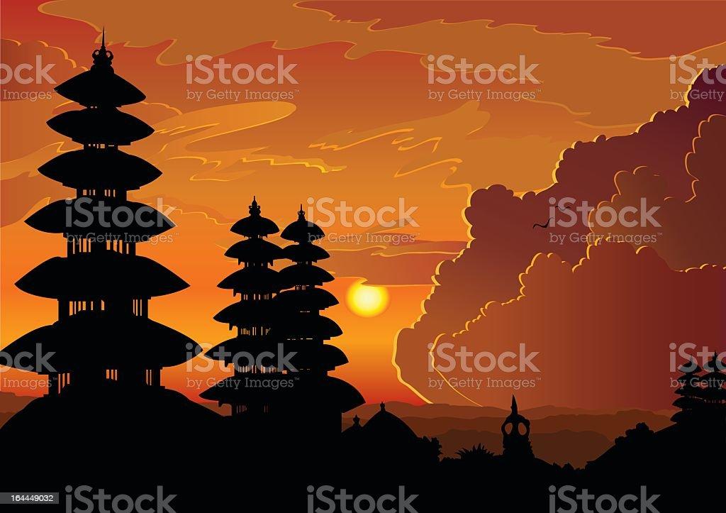 Illustration of Bali at sunset royalty-free stock vector art