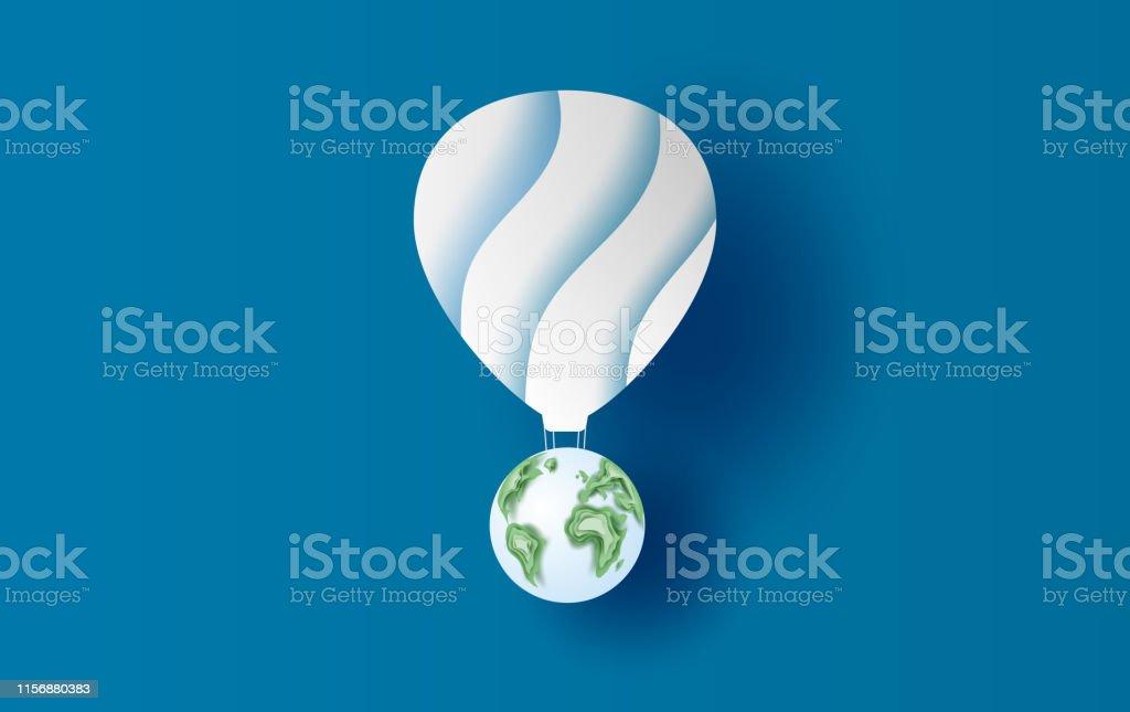 Erde Karte Rund.Illustration Von Ballon Rund Um Die Welt Konzept Papier Kunst Design