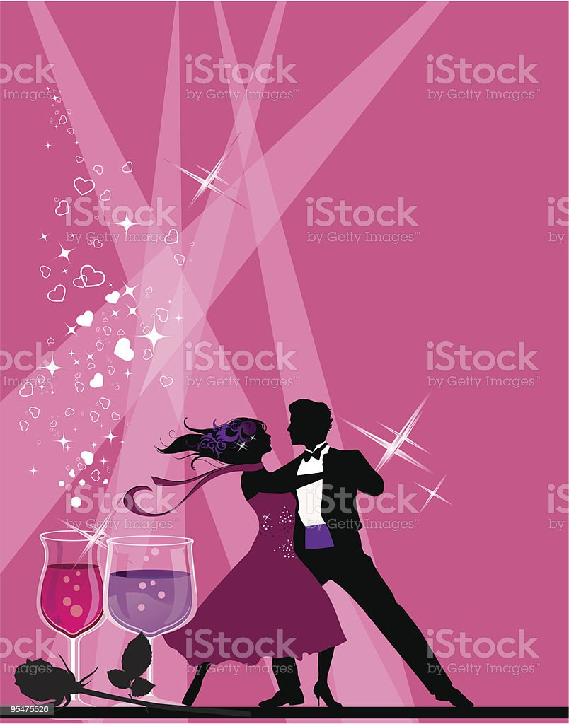 Illustration of ballroom dancers on a pink back with wine royalty-free stock vector art
