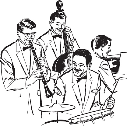 Illustration of band playing instruments