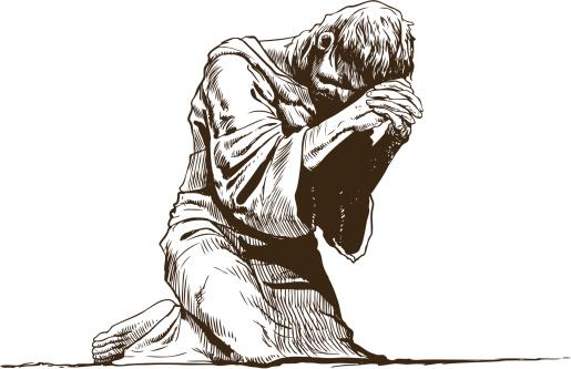 Illustration of barefoot praying man wearing monk's robe