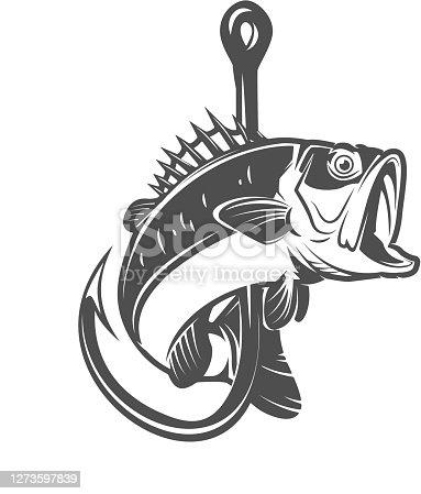 istock Illustration of bass and fishing hook. Design element for poster,card, banner, sign, emblem. Vector illustration 1273597839