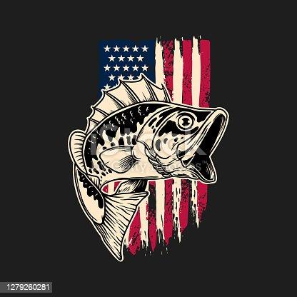 istock Illustration of bass fish of background of usa flag in grunge style. Design element for poster,card, banner, sign, emblem. Vector illustration 1279260281