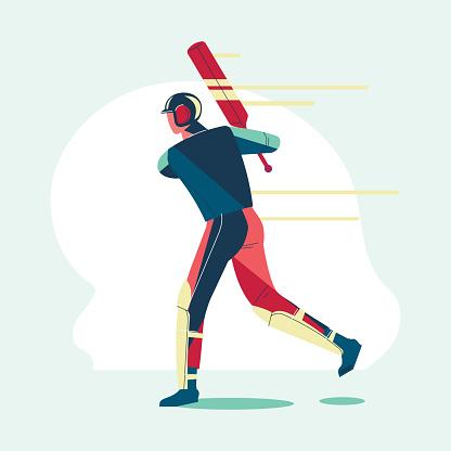 Illustration of batsman playing cricket championship or cricket player with bat swing