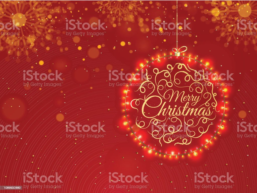 Frohe Weihnachten Schriftzug Beleuchtet.Abbildung Der Kugel Durch Beleuchtete Beleuchtung Girlanden Mit