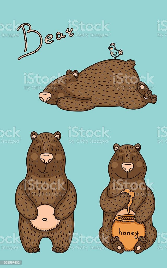 illustration of bear in different pose. vector art illustration