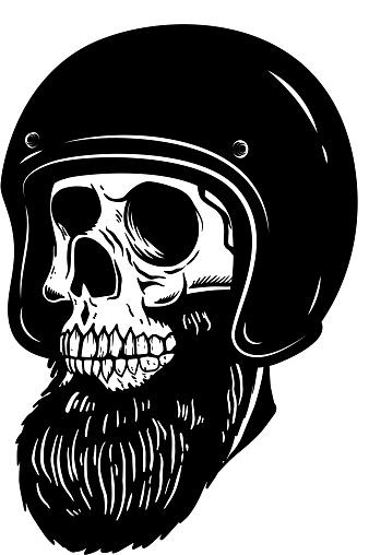 Illustration of bearded skull in racer helmet. Design element for label, sign, poster. Vector illustration