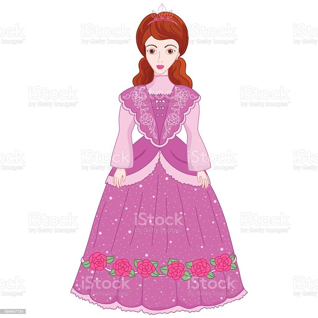 Illustration of beautiful brunette princess in ancient dress - ilustração de arte vetorial