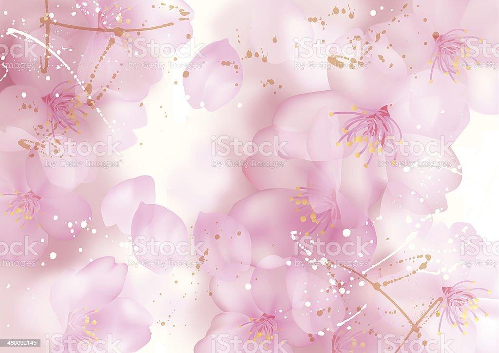 Illustration of beautiful cherry tree (sakura) vector art illustration