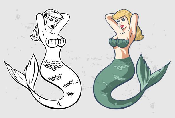 illustration of beautiful mermaid, vector - mermaid tattoos stock illustrations, clip art, cartoons, & icons