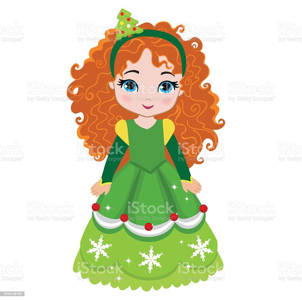 Illustration of beautiful winter christmas princess. vector art illustration