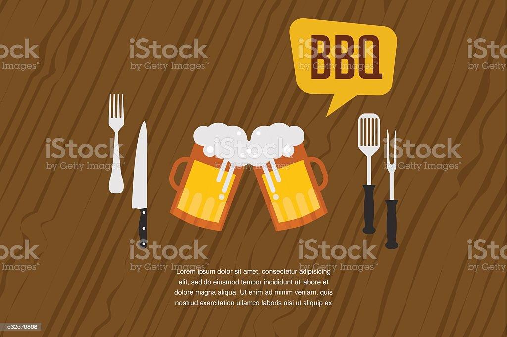 Ilustração De Ilustração De Copos De Cerveja Com Churrasco De
