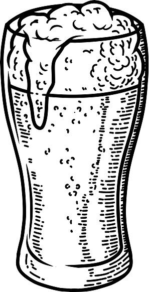 Illustration of beer mug in engraving style. Design element for poster, card, banner, sign. Vector illustration
