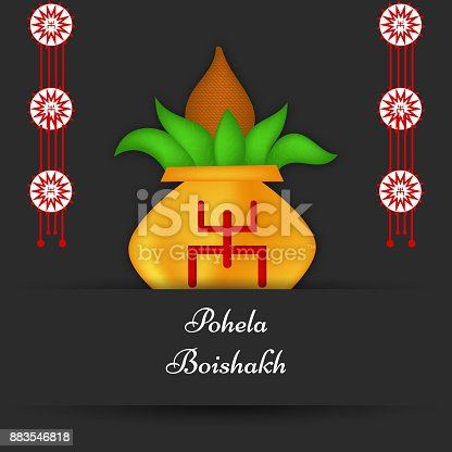 illustration of Bengali New Year Symbol on Pot on the occasion of Bengali New Year. Bengali New Year is a festival celebrated in Eastern region of India.