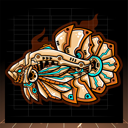 Illustration of betta fish mecha robot mascot. esport logo design