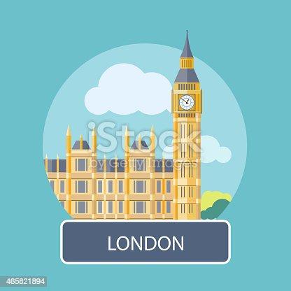 istock Illustration of Big Ben and Westminster Bridge in London 465821894