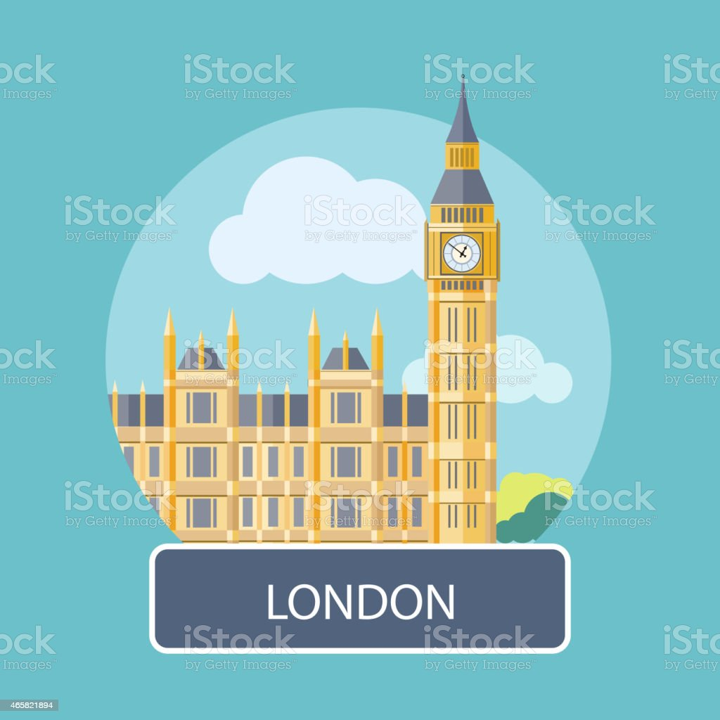 Illustration of Big Ben and Westminster Bridge in London vector art illustration